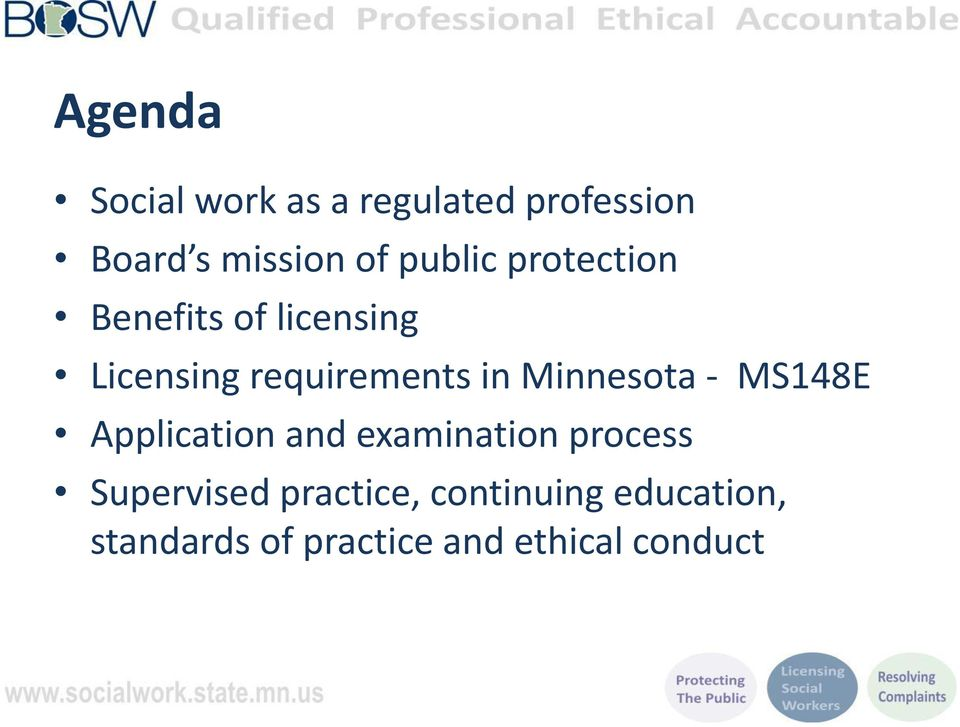 Minnesota - MS148E Application and examination process Supervised