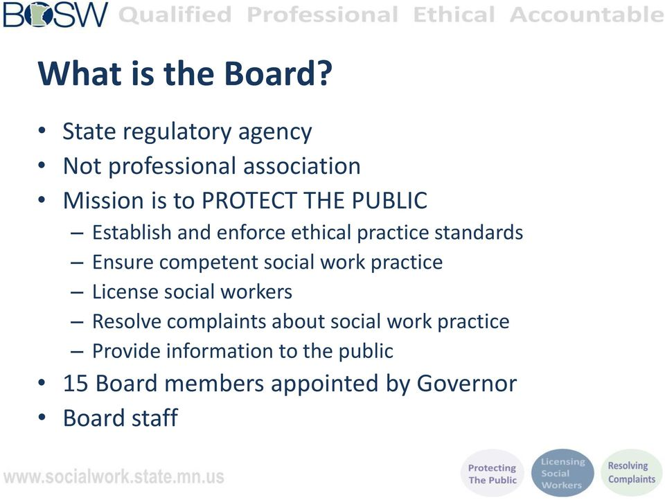 Establish and enforce ethical practice standards Ensure competent social work practice