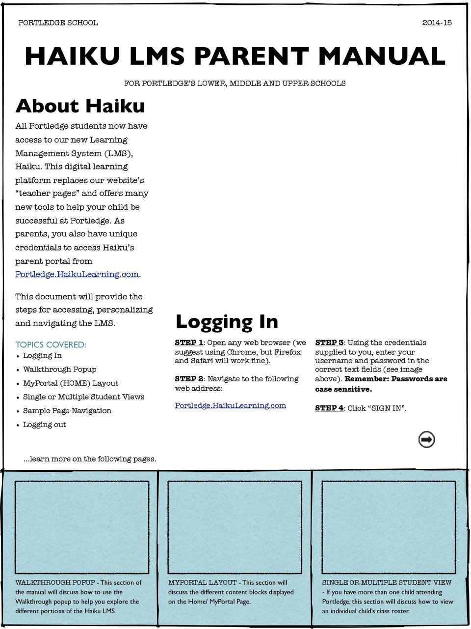 As parents, you also have unique credentials to access Haiku s parent portal from Portledge.HaikuLearning.com. This document will provide the steps for accessing, personalizing and navigating the LMS.