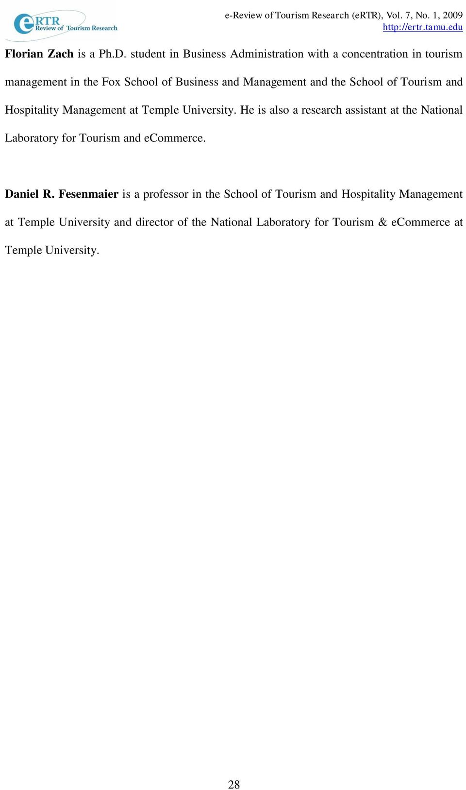 the School of Tourism and Hospitality Management at Temple University.