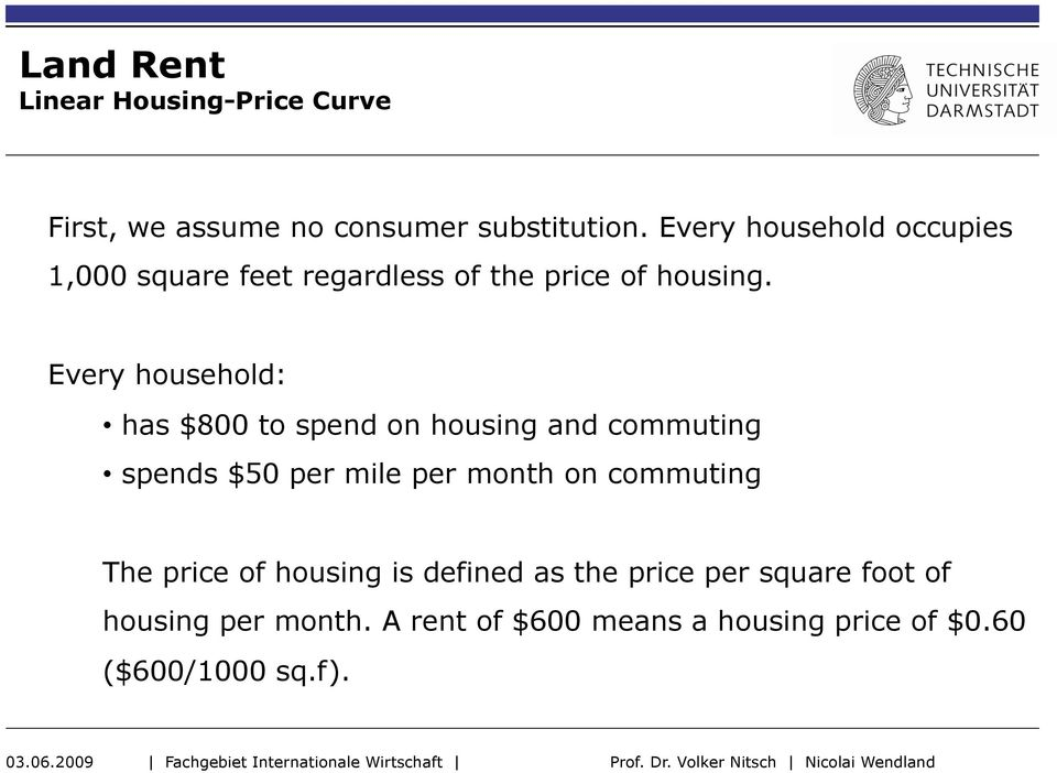 Every household: has $800 to spend on housing and commuting spends $50 per mile per month on