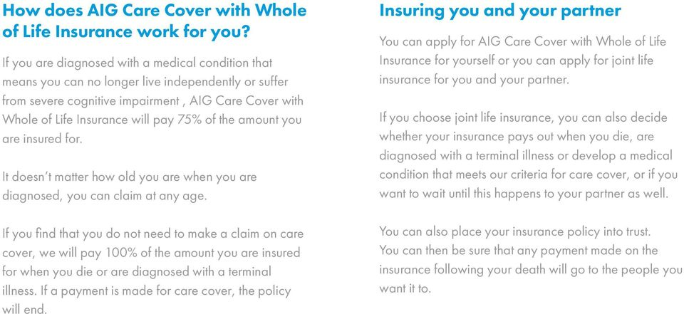 the amount you are insured for. It doesn t matter how old you are when you are diagnosed, you can claim at any age.