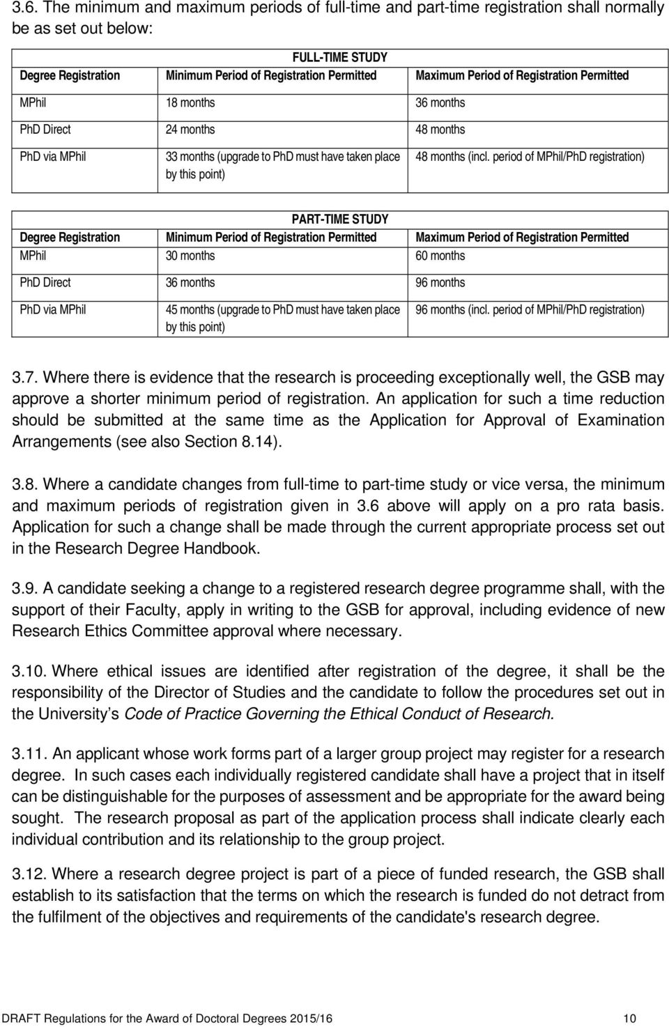 period of MPhil/PhD registration) PART-TIME STUDY Degree Registration Minimum Period of Registration Permitted Maximum Period of Registration Permitted MPhil 30 months 60 months PhD Direct 36 months