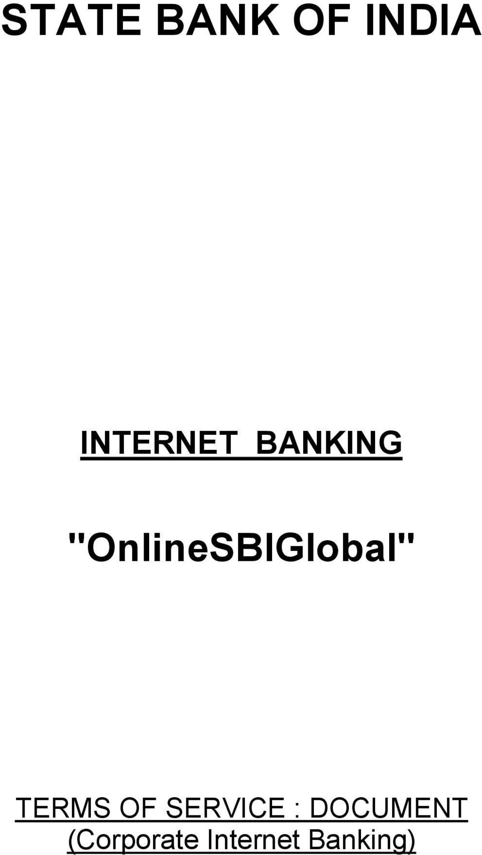"""OnlineSBIGlobal"" TERMS OF"