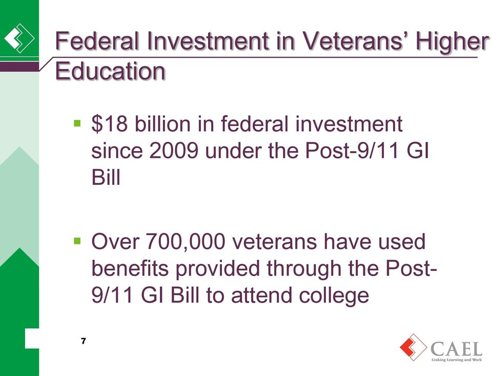 Post-9/11 GI Bill Over 700,000 veterans have used