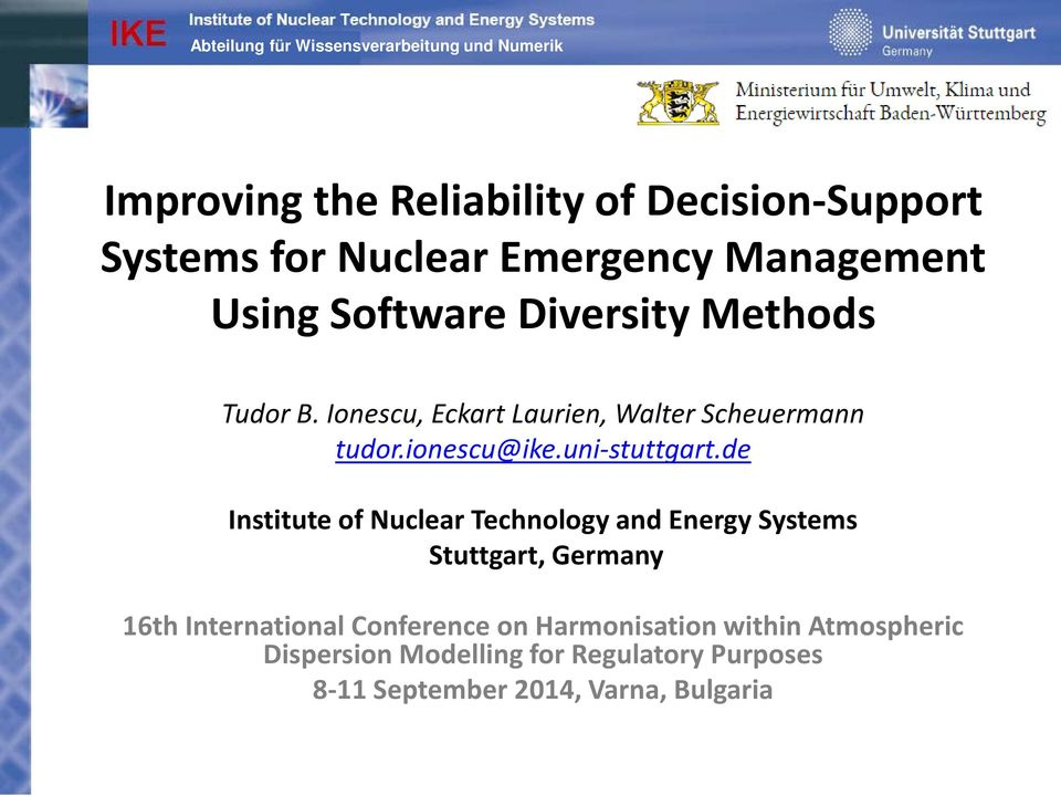 de Institute of Nuclear Technology and Energy Systems Stuttgart, Germany 16th International Conference on