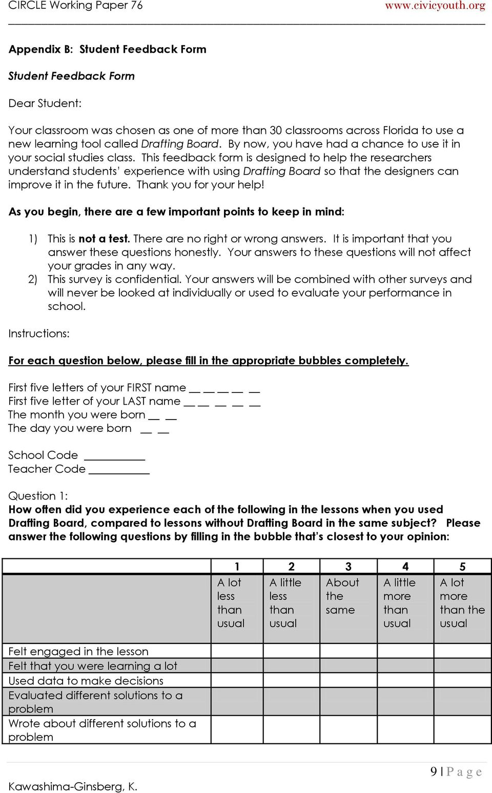 This feedback form is designed to help the researchers understand students experience with using Drafting Board so that the designers can improve it in the future. Thank you for your help!