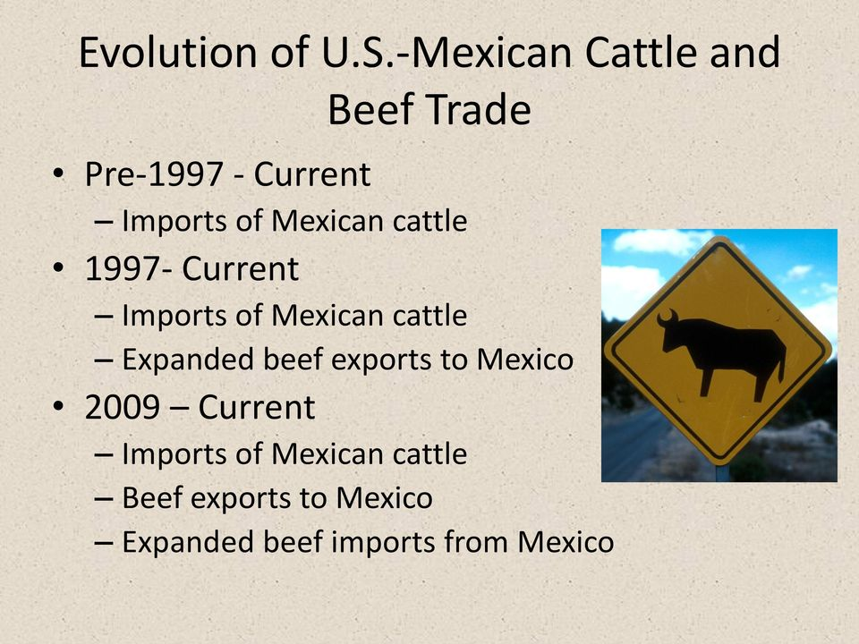 Mexican cattle 1997- Current Imports of Mexican cattle Expanded