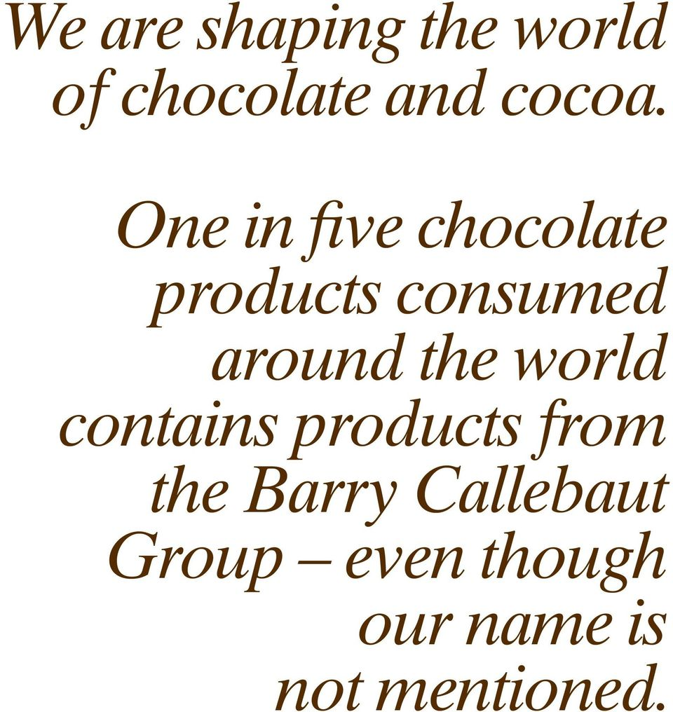 One in five chocolate products consumed