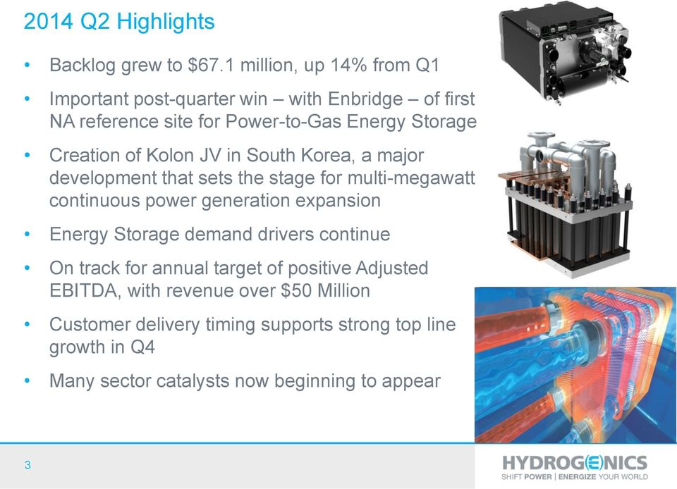 Creation of Kolon JV in South Korea, a major development that sets the stage for multi-megawatt continuous power generation expansion