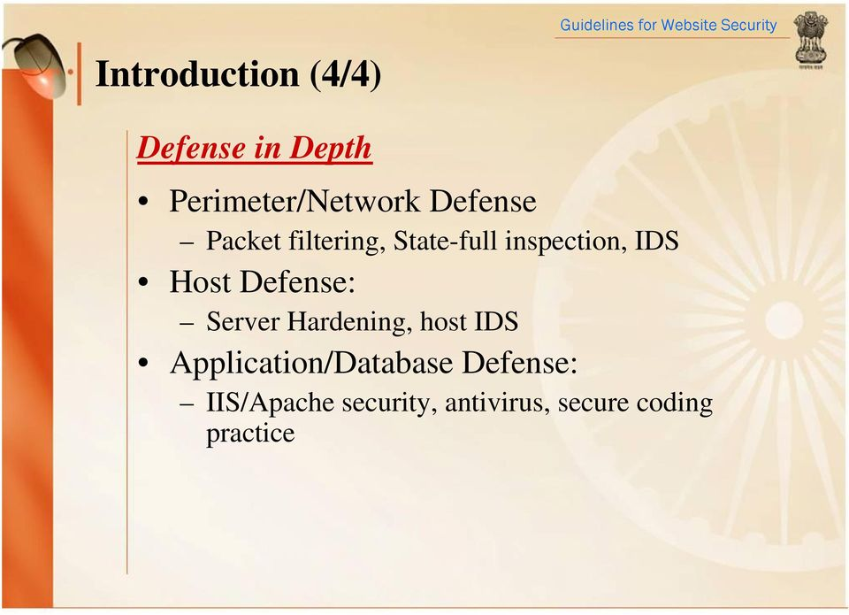 Defense: Server Hardening, host IDS Application/Database