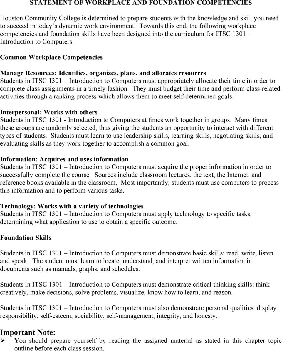 Common Workplace Competencies Manage Resources: Identifies, organizes, plans, and allocates resources Students in ITSC 1301 Introduction to Computers must appropriately allocate their time in order