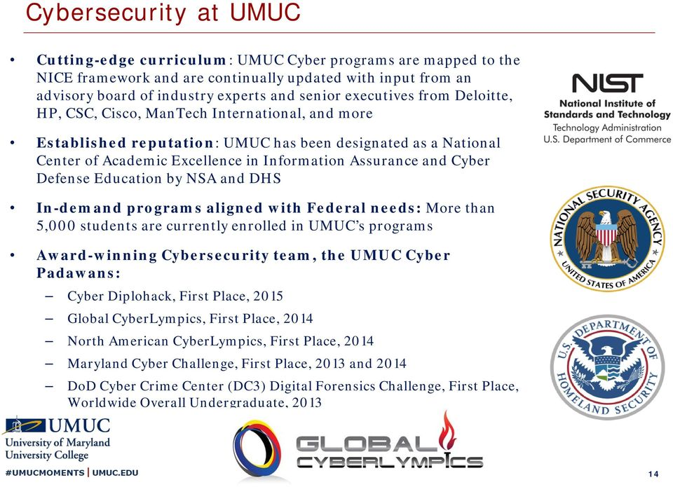 Cyber Defense Education by NSA and DHS In-demand programs aligned with Federal needs: More than 5,000 students are currently enrolled in UMUC s programs Award-winning Cybersecurity team, the UMUC