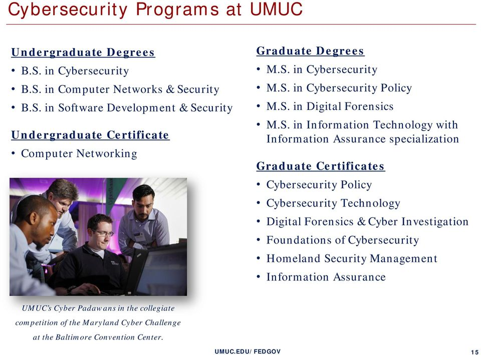 Certificates Cybersecurity Policy Cybersecurity Technology Digital Forensics & Cyber Investigation Foundations of Cybersecurity Homeland Security Management Information