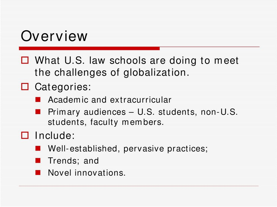 Categories: Academic and extracurricular Primary audiences U.S.