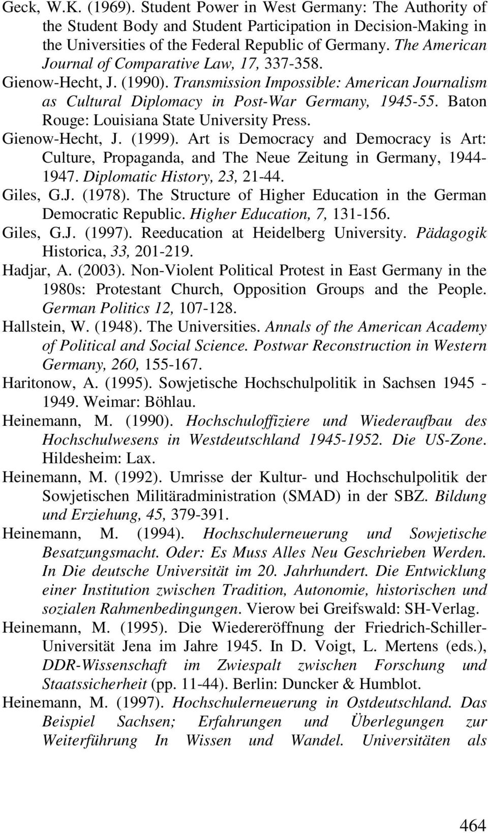 Baton Rouge: Louisiana State University Press. Gienow-Hecht, J. (1999). Art is Democracy and Democracy is Art: Culture, Propaganda, and The Neue Zeitung in Germany, 1944-1947.