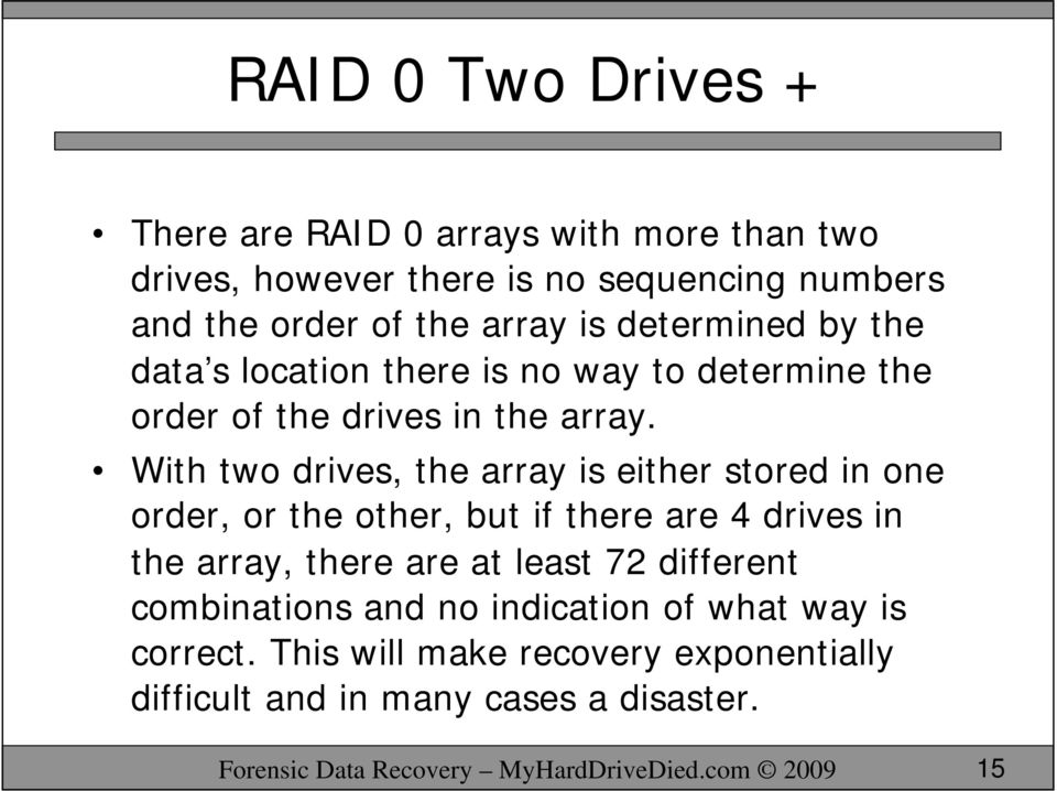 With two drives, the array is either stored in one order, or the other, but if there are 4 drives in the array, there are at least 72