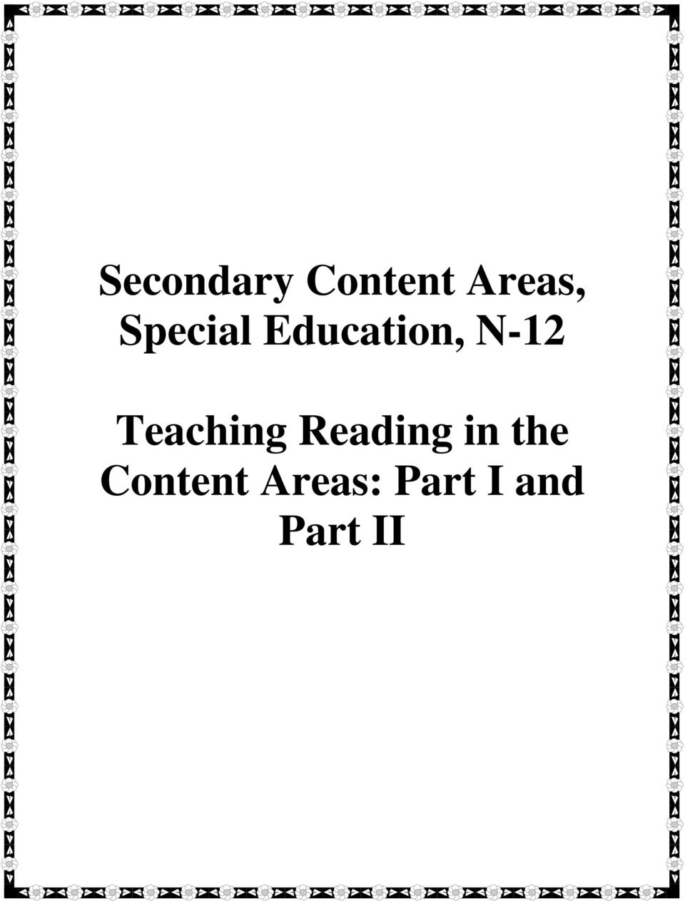 Teaching Reading in the