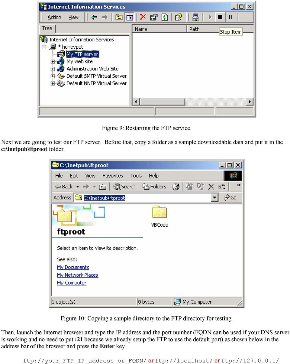 Figure 10: Copying a sample directory to the FTP directory for testing.
