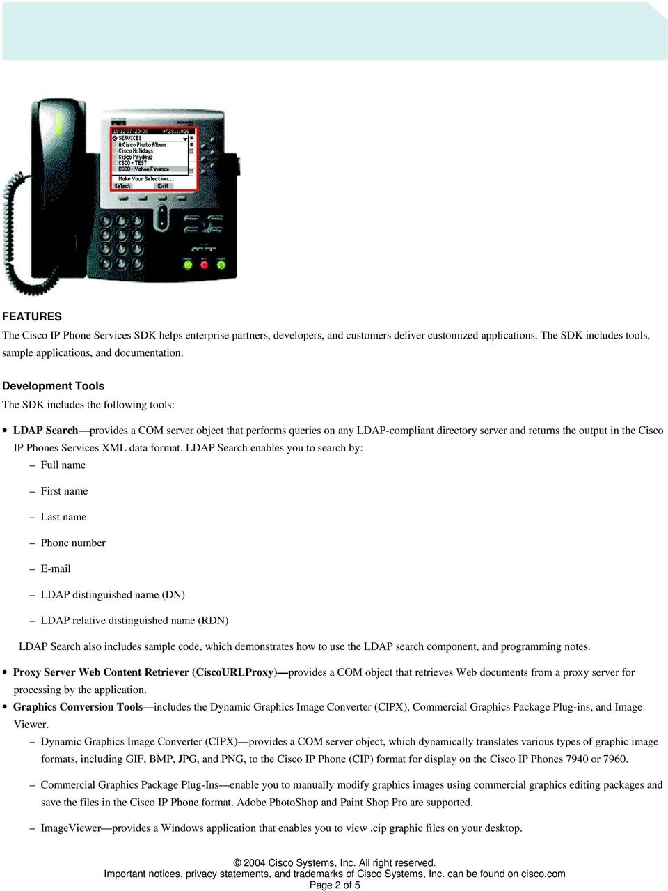 Phones Services XML data format.
