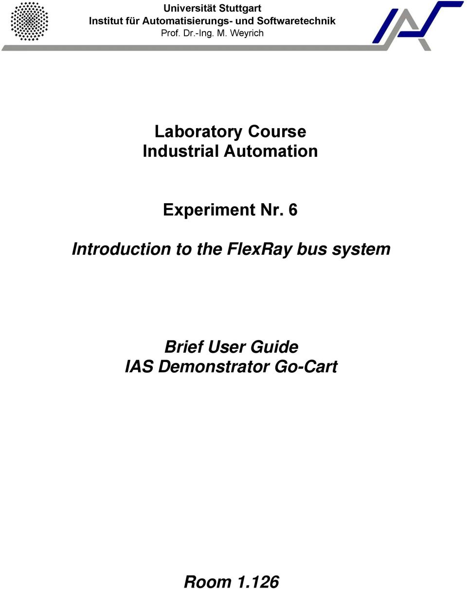 Weyrich Laboratory Course Industrial Automation Experiment Nr.