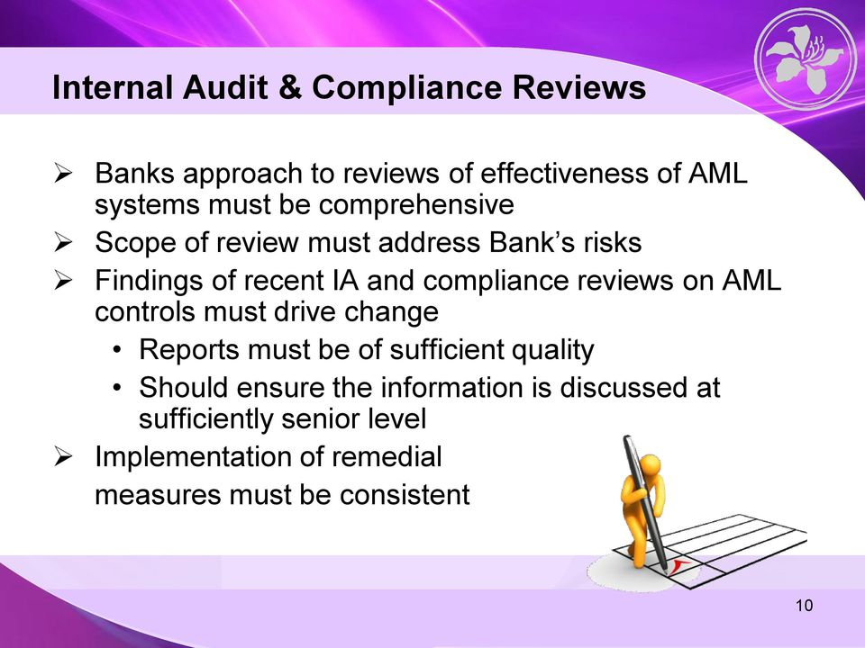 reviews on AML controls must drive change Reports must be of sufficient quality Should ensure the