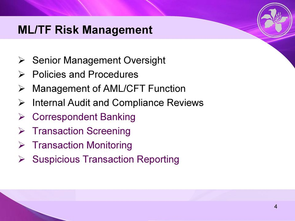 and Compliance Reviews Correspondent Banking Transaction