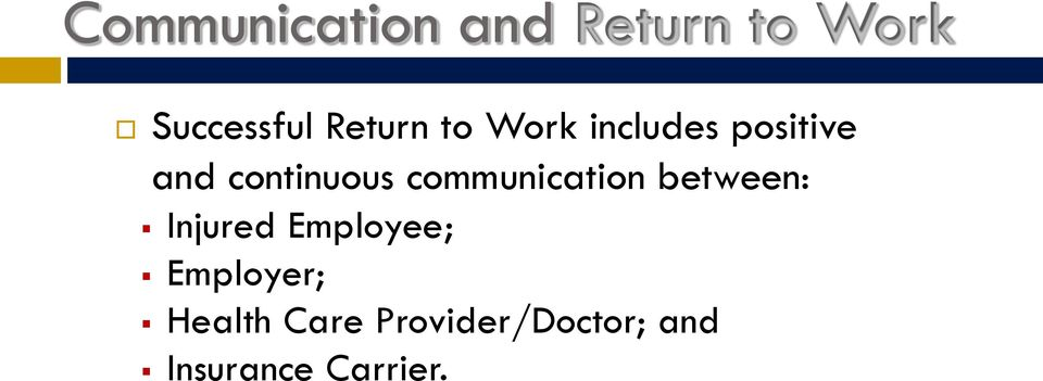 communication between: Injured Employee;
