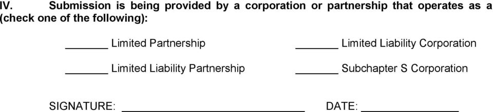following): Limited Partnership Limited Liability