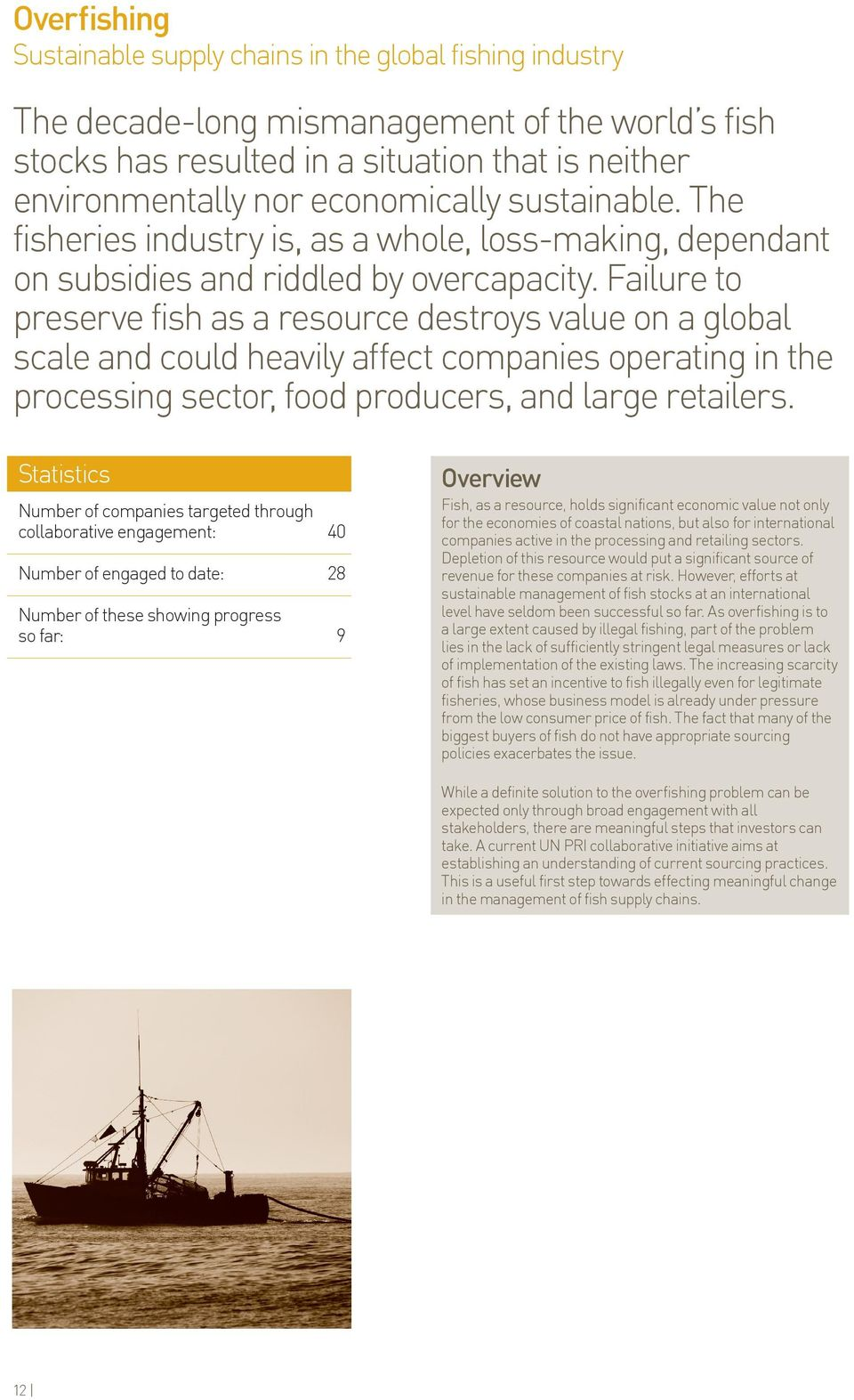 Failure to preserve fish as a resource destroys value on a global scale and could heavily affect companies operating in the processing sector, food producers, and large retailers.