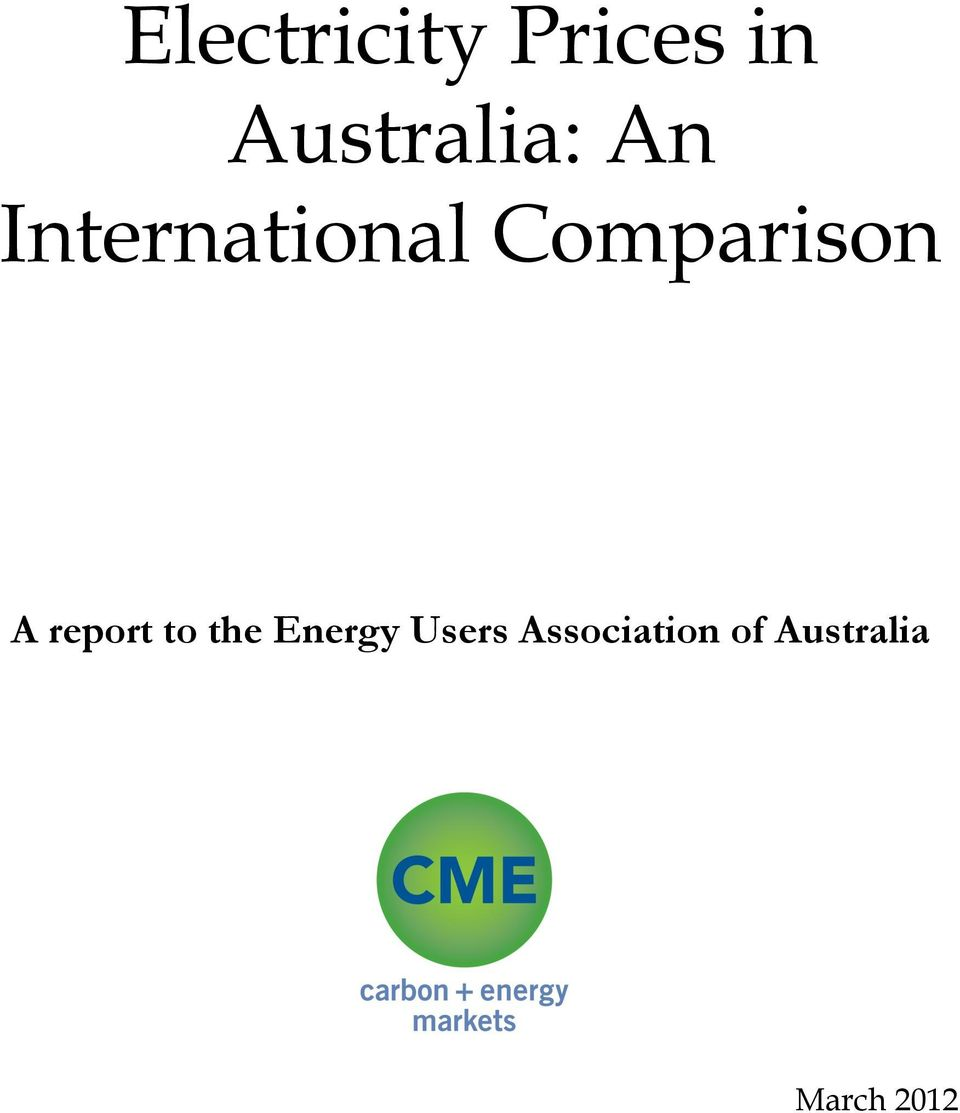Comparison A report to the