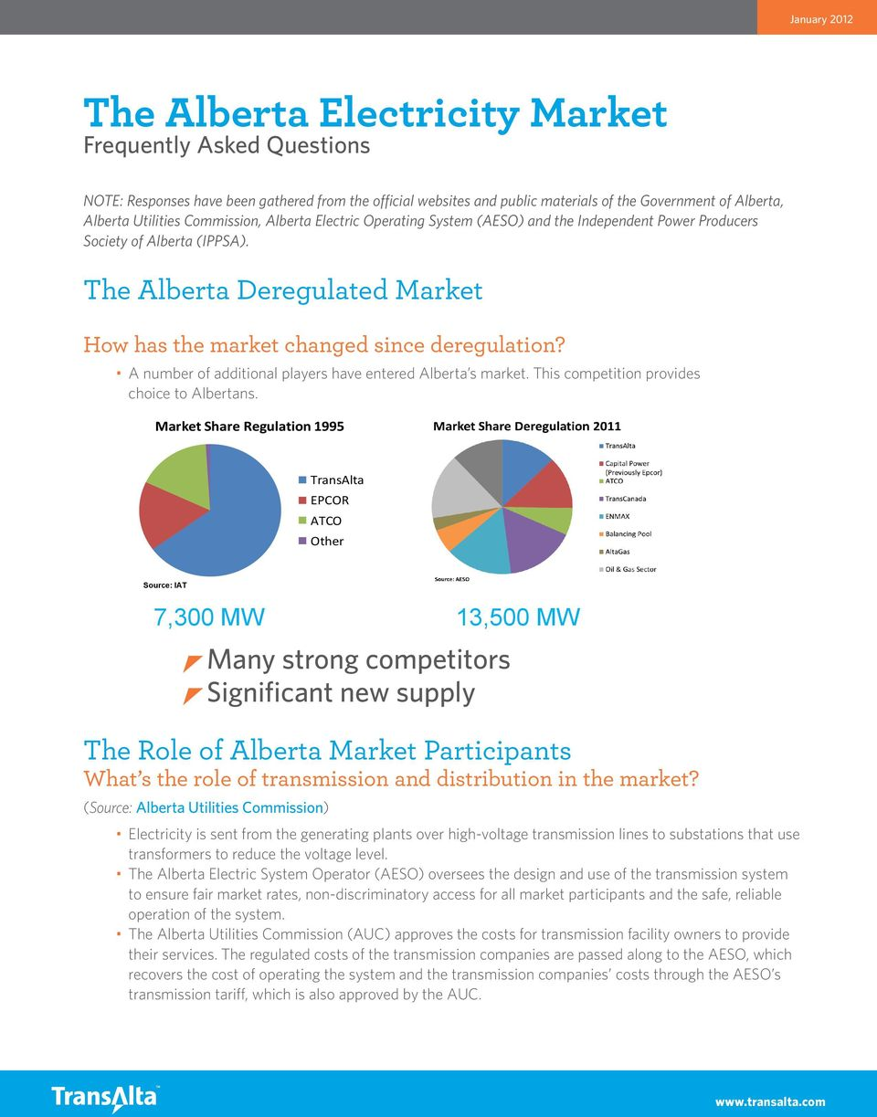 A number of additional players have entered Alberta s market. This competition provides choice to Albertans.