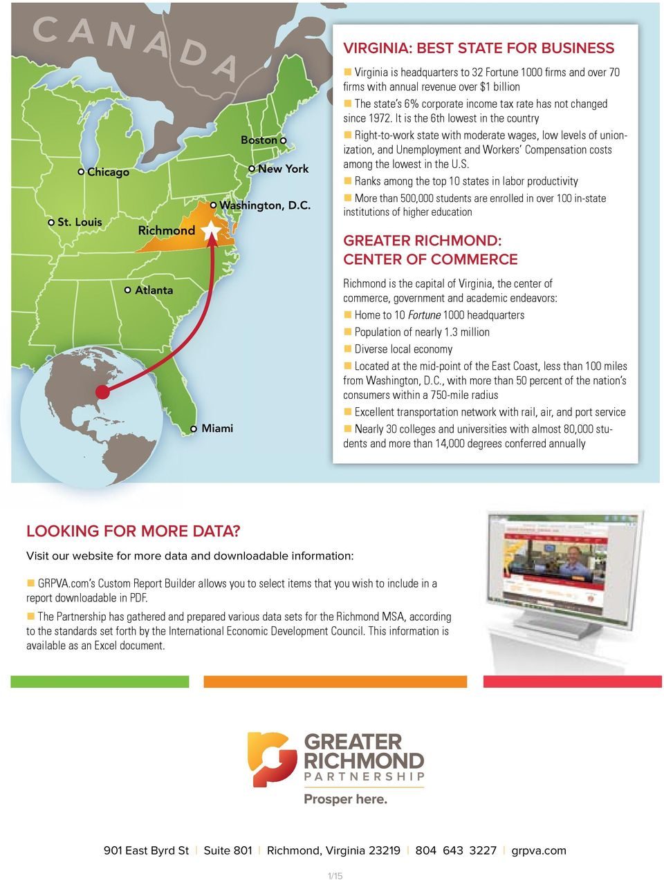 n anks among the top 10 states in labor productivity n More than 500,000 students are enrolled in over 100 in-state Boston institutions of higher education ichmond greater ichmond: Center of Commerce