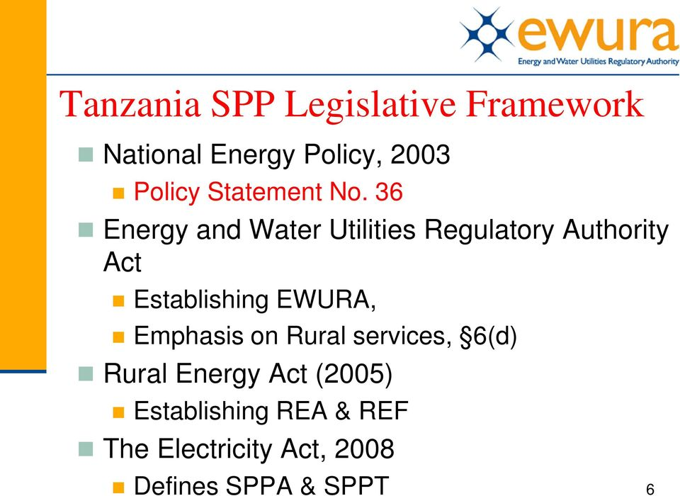 36 Energy and Water Utilities Regulatory Authority Act Establishing