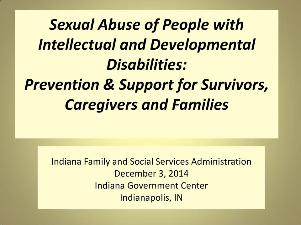 Caregivers and Families Indiana Family and Social Services