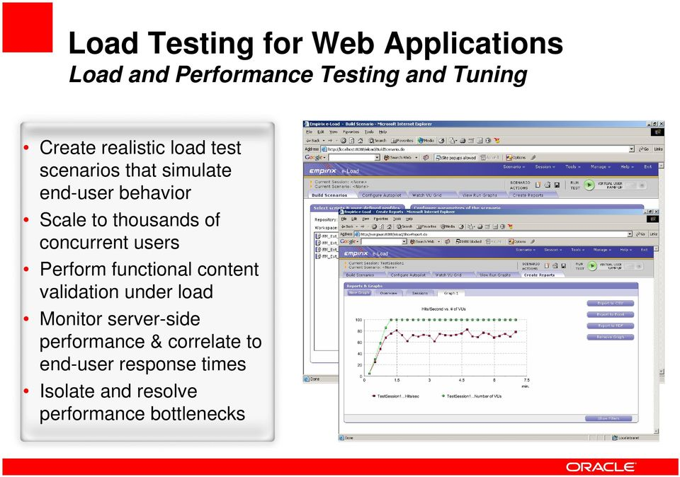 concurrent users Perform functional content validation under load Monitor server-side