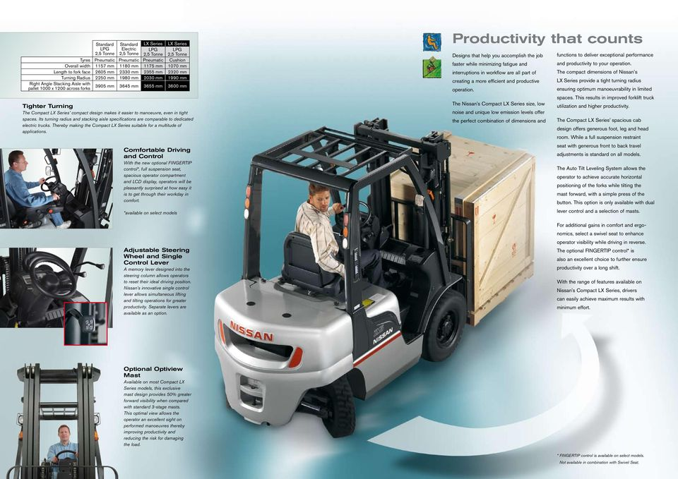 Turning The Compact LX Series compact design makes it easier to manoeuvre, even in tight spaces. Its turning radius and stacking aisle specifications are comparable to dedicated electric trucks.