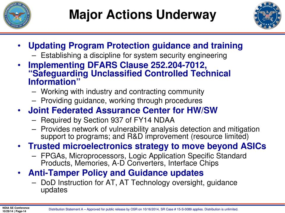 for HW/SW Required by Section 937 of FY14 NDAA Provides network of vulnerability analysis detection and mitigation support to programs; and R&D improvement (resource limited) Trusted microelectronics