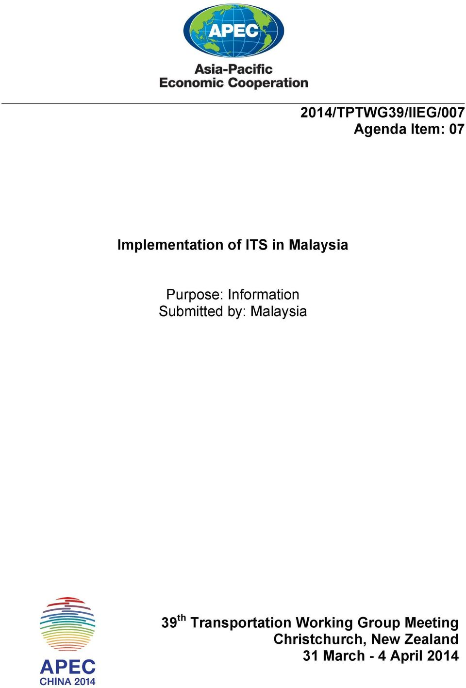 Information Submitted by: Malaysia 39 th