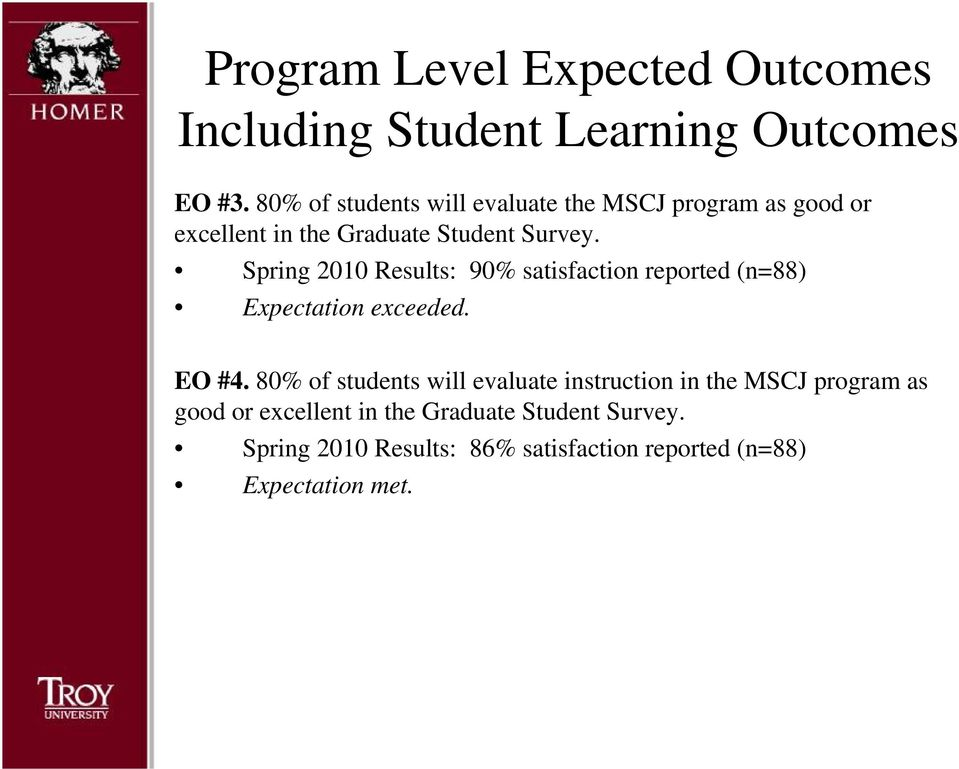 Spring 2010 Results: 90% satisfaction reported (n=88) Expectation exceeded. EO #4.