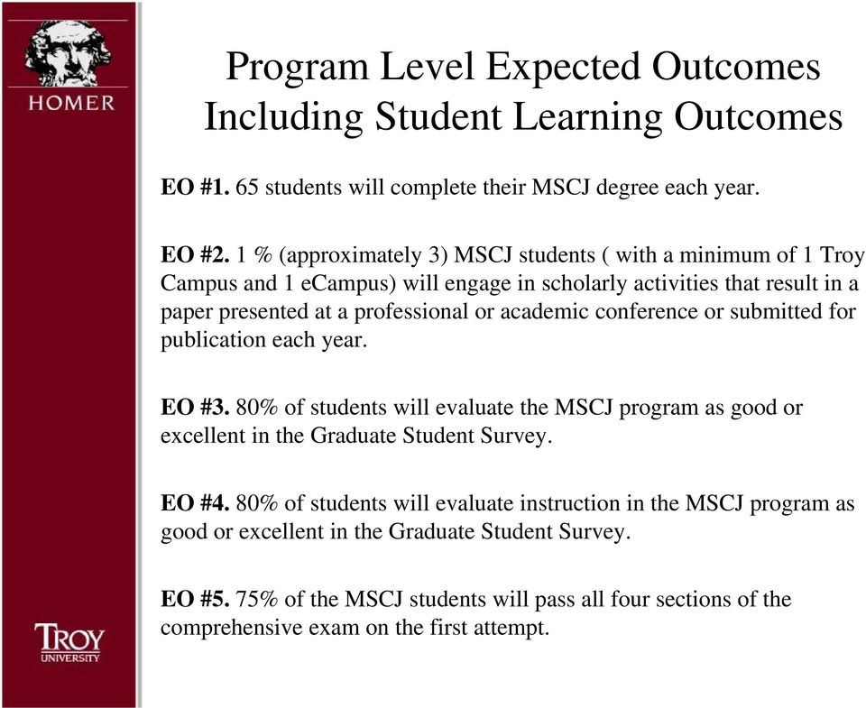 academic conference or submitted for publication each year. EO #3. 80% of students will evaluate the MSCJ program as good or excellent in the Graduate Student Survey. EO #4.