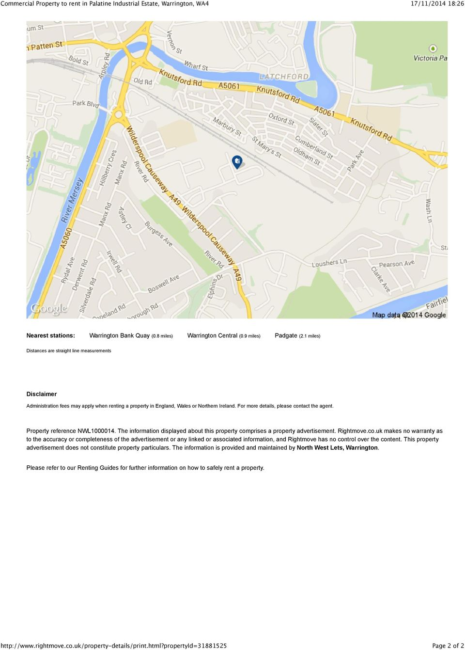 Property reference NWL1000014. The information displayed about this property com