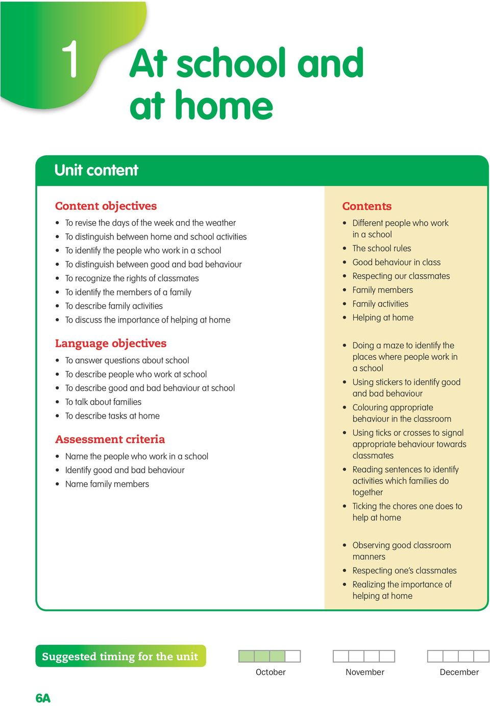 Language objectives To answer questions about school To describe people who work at school To describe good and bad behaviour at school To talk about families To describe tasks at home Assessment