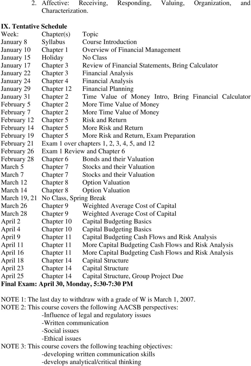 Financial Statements, Bring Calculator January 22 Chapter 3 Financial Analysis January 24 Chapter 4 Financial Analysis January 29 Chapter 12 Financial Planning January 31 Chapter 2 Time Value of