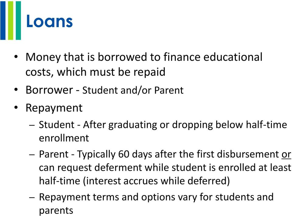 Typically 60 days after the first disbursement or can request deferment while student is enrolled at