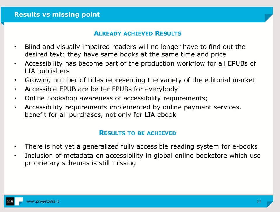 for everybody Online bookshop awareness of accessibility requirements; Accessibility requirements implemented by online payment services.