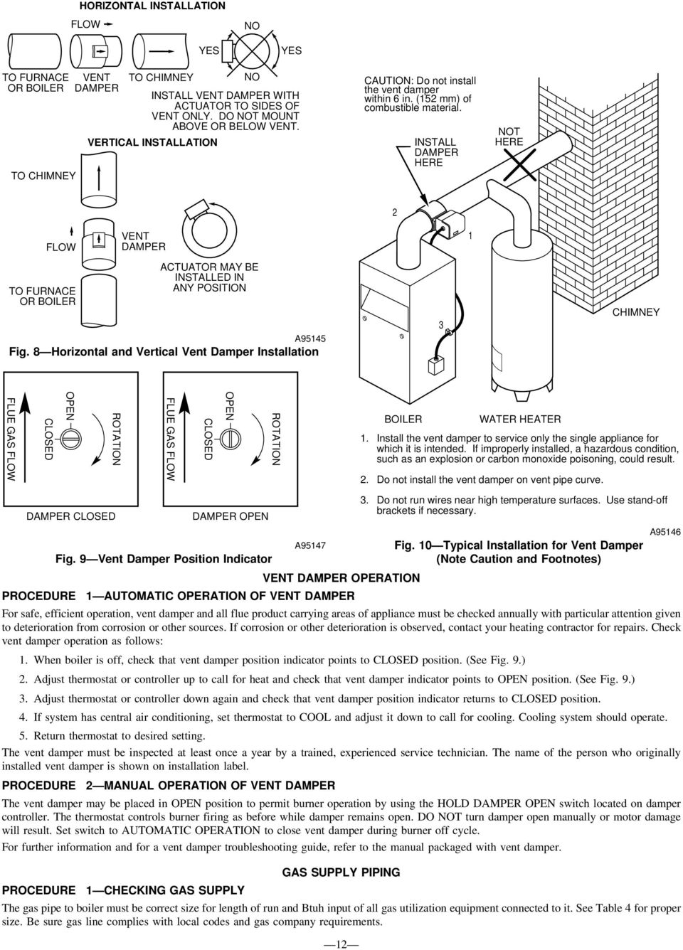 Installation Start Up And Operating Instructions Pdf Gas Boiler Vent Damper Wiring Diagrams Install Here Not 2 Flo 1 To Furnace Or Actuator May