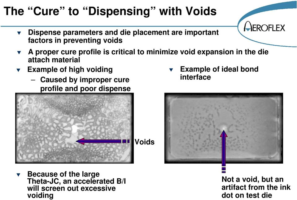 Caused by improper cure profile and poor dispense Example of ideal bond interface Voids Because of the large