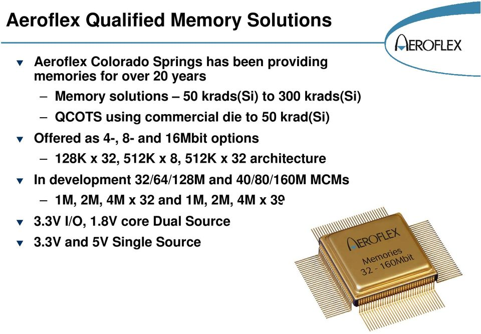 as 4-, 8- and 16Mbit options 128K x 32, 512K x 8, 512K x 32 architecture In development 32/64/128M