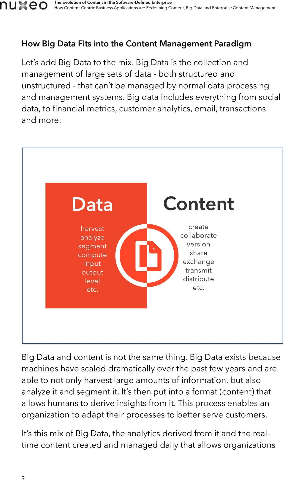 Big data includes everything from social data, to financial metrics, customer analytics, email, transactions and more. Data harvest analyze segment compute input output level etc.